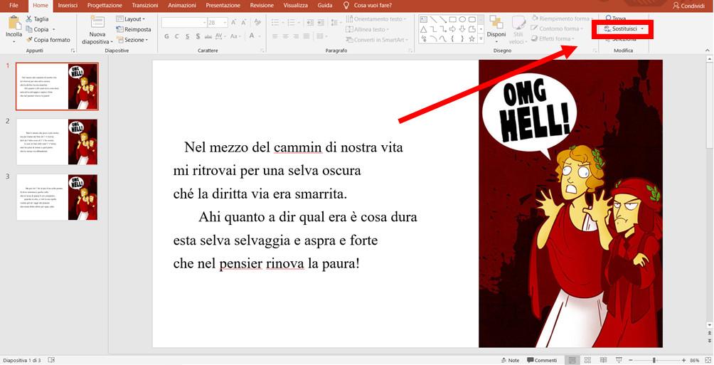 Come sostituire il font in tutte le slide di una presentazione